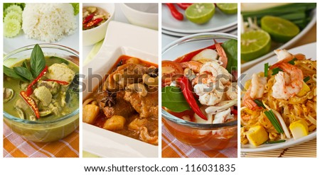 Collage photos of popular Thai food (Green curry, Massaman curry, Tom yum kung, Pad Thai) - stock photo