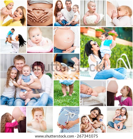 collage photos of  young parents and their children - stock photo