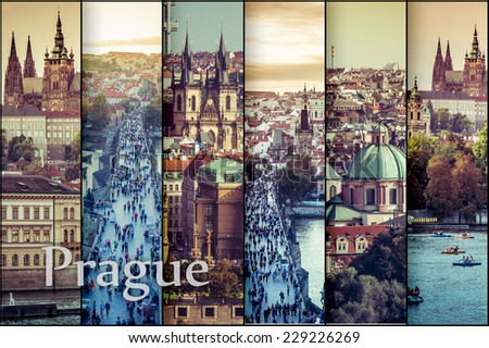 collage photos with  beautiful view of the old town of Charles Bridge and Prague Castle, Czech Republic - stock photo