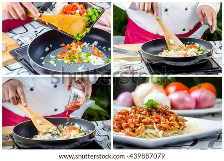 collage picture of basil tomato sauce spaghetti with chicken  in white plate - stock photo
