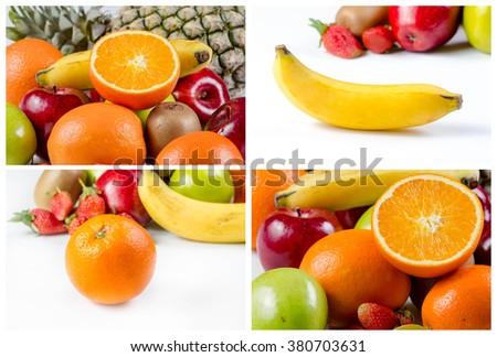 collage picture of Fresh many fruits, orange, apple, pineapple banana and kiwi on white background - stock photo