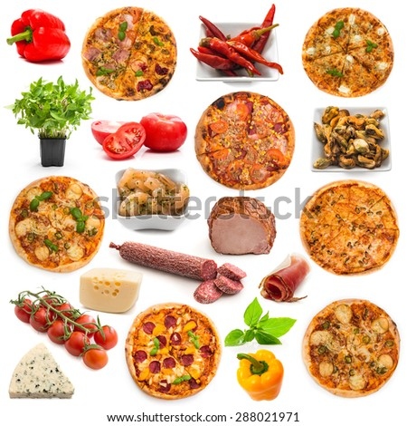 collage pizza and food ingredients for its preparation on a white background - stock photo