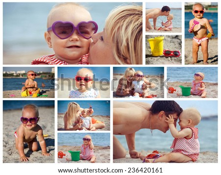 Collage portrait of happy family on the beach  - stock photo