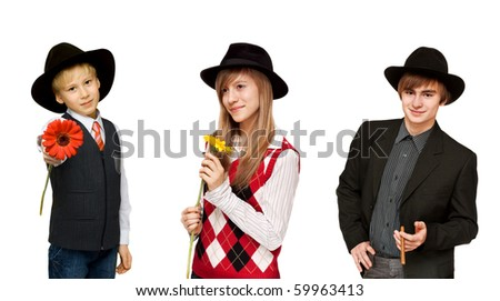 Collage portrait of the youth with cigar, girls and boy with flower on white background. Picture is formed from several photographies