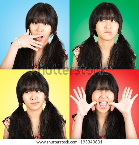 Collage portrait teenager asian girl with difference emotions - stock photo
