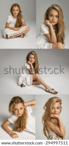 Collage portraits of beautiful pretty little girl - stock photo