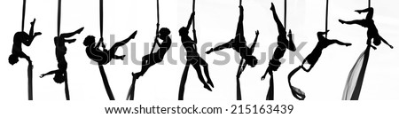 Collage positions of woman dancer on aerial silk, aerial contortion, aerial ribbons, aerial fabric in posing exercise isolated in white background - stock photo