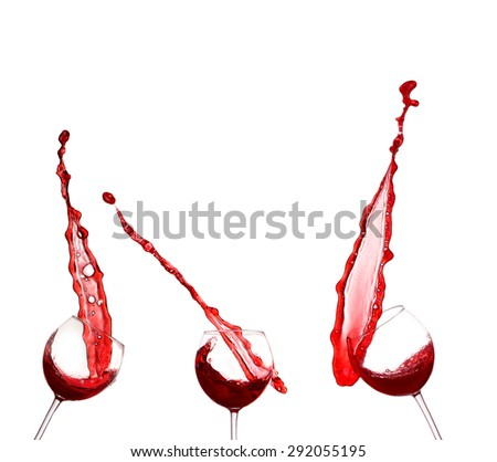 collage Red wine splashing from glass, isolated on white background - stock photo