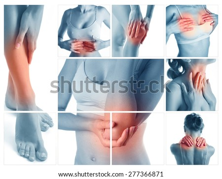 Collage representing woman having pain at several part of body - stock photo