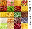 Collage (set) from many tasty  food background photos (vegetables, fruits, berry etc) - stock