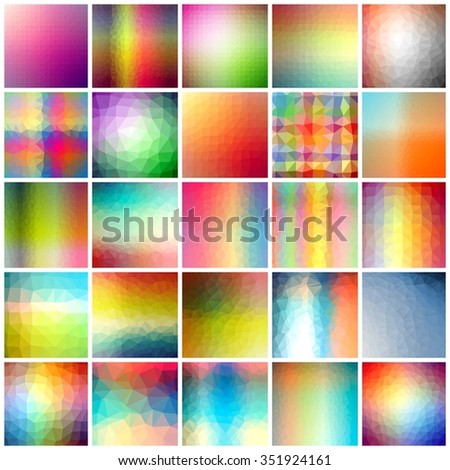 Collage set of an abstract colors polygonal triangle patterns.