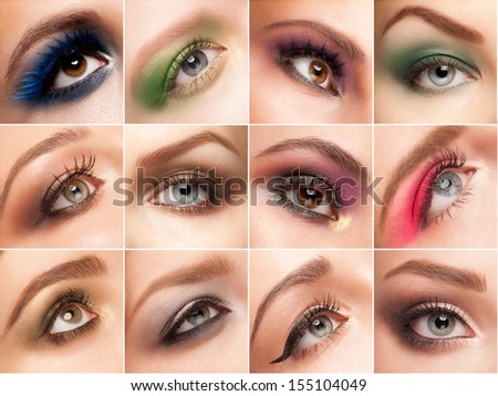 Collage set of close-up pictures women eye make-up - stock photo