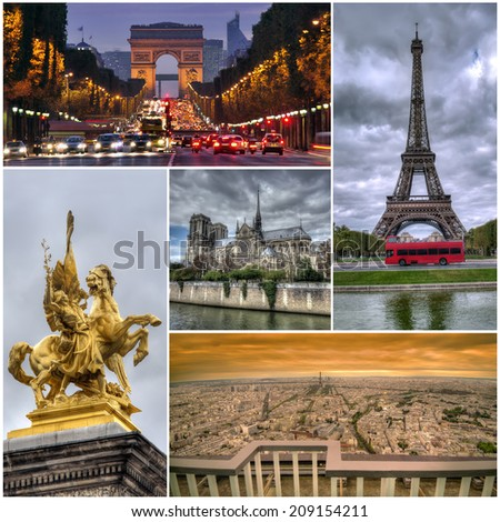 collage set of Paris images - stock photo