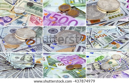 Collage (set) of  Silver American dollar and Euro coins over different bank notes background