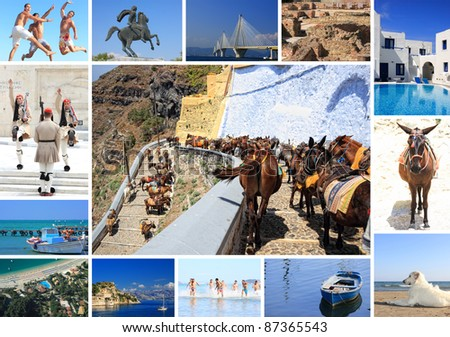 Collage set of summer photos of Greece