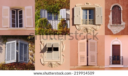 collage set of windows from Europe - stock photo