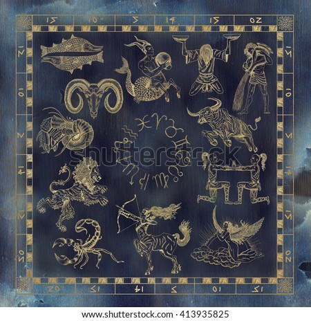 Collage set with golden zodiac symbols in map frame. Line art with hand drawn horoscope signs in grunge style. Vintage mystic and astrology illustration with texture background - stock photo