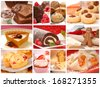 Collage showing a variety of delicious pastries, desserts and baked goods including cookies, pies, cakes, and muffins - stock photo