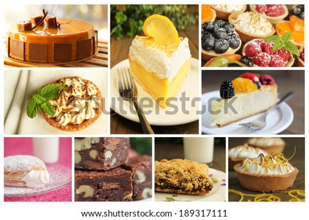 Collage showing different kind of dessert like lemon pie, cheesecake and donuts - stock photo