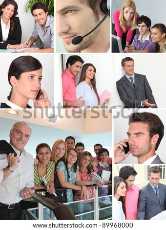 Collage showing office  workers - stock photo
