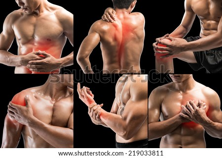 Collage showing pain at several part of body  - stock photo