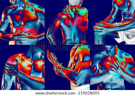 Collage showing pain at several part of body ,Thermal imaging  - stock photo