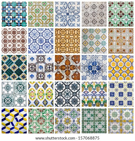 Collage showing the traditional colored decorative tiles covering the facades of many buildings in Portugal  - stock photo