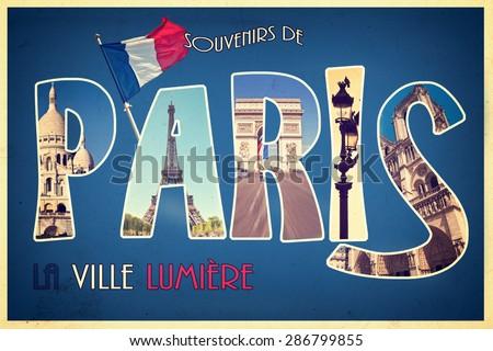 Collage souvenirs de PARIS, la ville lumiere (meaning greetings from Paris the city of light) retro postcard style, vintage process - stock photo
