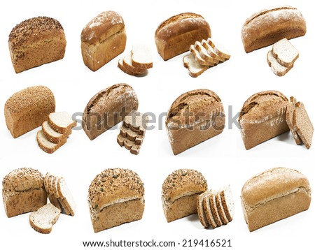 Collage Special manufacture bread spelled flour - stock photo