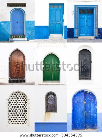 Collage Streets and corners of doors and windows of Tangier in Morocco - stock photo