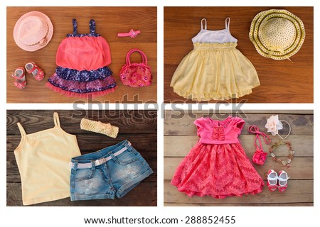 Collage summer children's clothing and accessories: dress, sundress, t-shirt, denim shorts, shoes, hat, handbag, headband - stock photo