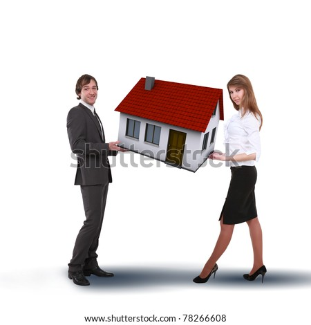 Collage symbolizing the real estate business. Elements of the business. - stock photo