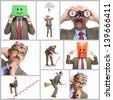Collage. The businessman in various poses on a white background - stock photo