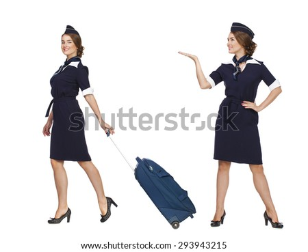 Collage two women, Portrait in full growth stewardess holding suitcase isolated on white background - stock photo
