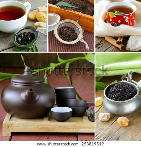 collage useful green and black tea and serving for tea party - stock photo