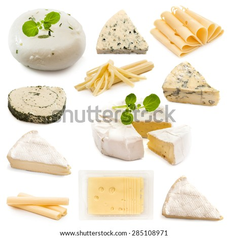 collage various types of cheeses on a white background - stock photo