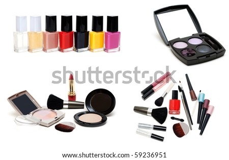 Collage varnish for nail and set for make-up on white background. It Is Collected from several pictures - stock photo