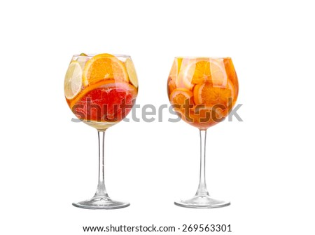 collage White Sangria in stemware on a white background - stock photo