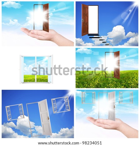 Collage. Windows and doors. A palm and sky - stock photo
