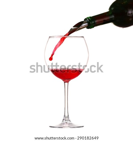 collage Wine collection - Splashing red wine in a glass. Isolated on white background and pourer - stock photo