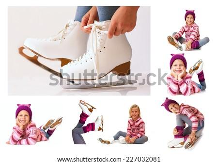 collage - winter ice skates - stock photo