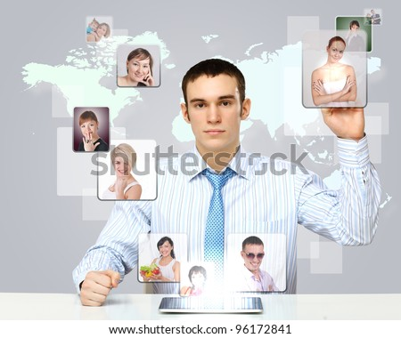 Collage with a business person against technology background