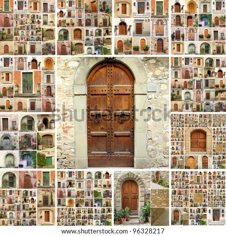 collage with  a lot of images of  retro doors from  Italy, Europe - stock photo