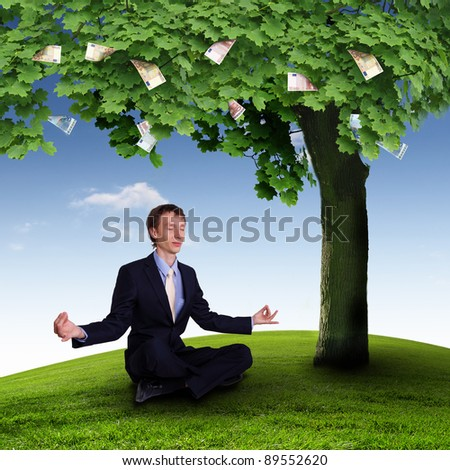 Collage with a money tree and young business man