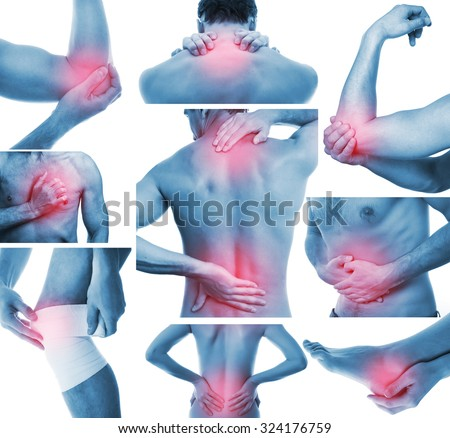 Collage with adult man and woman showing pain at several part of body - stock photo