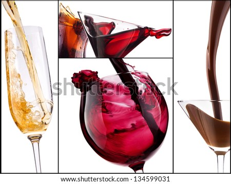 collage with alcohol cocktails - beer, martini, Curacao, soda, cosmopolitan, cola, cocktail, wine,  champagne, whiskey