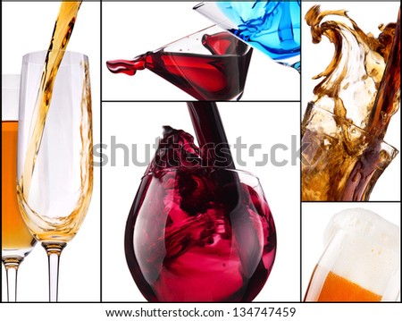 collage with alcohol cocktails - beer, martini, Curacao, soda, cosmopolitan, cola, cocktail, wine,  champagne, whiskey - stock photo