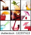 collage with alcohol cocktails - beer, martini, soda,cola,cocktail,wine - stock photo