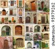 collage with antique doors in Italy - stock photo