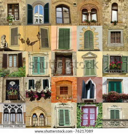 collage with antique windows in Italy - stock photo